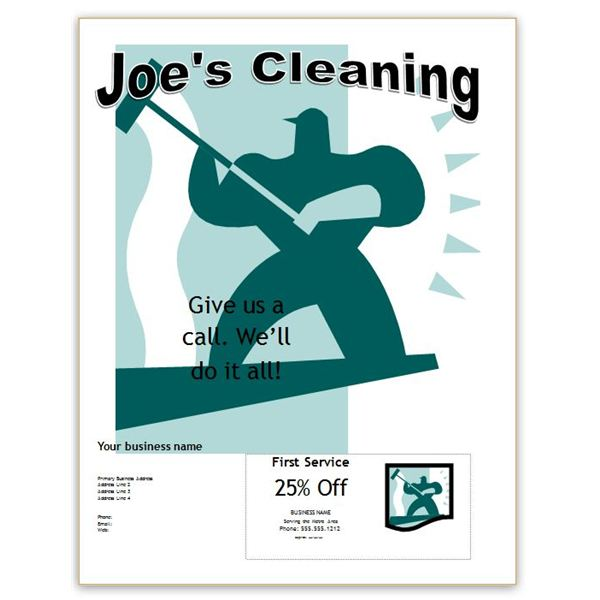 Word Office Cleaning Flyer With Coupon  Microsoft Office Coupon Template