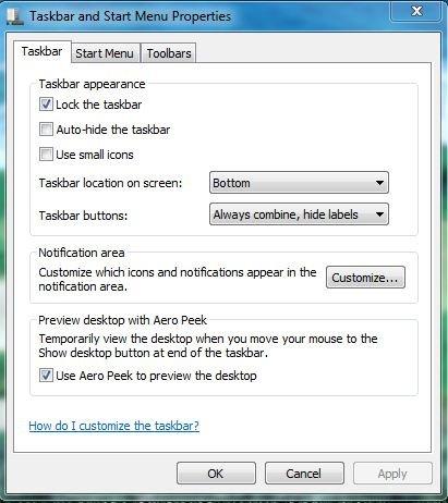Taskbar and Start Menu