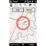Trapster detects your location via GPS