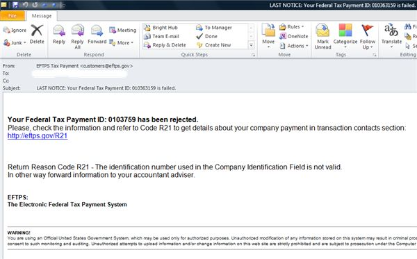 Phishing Email:  EFTPS Tax Payment
