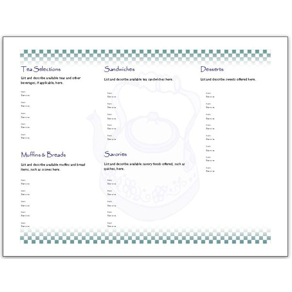 Tea Menu Templates Free