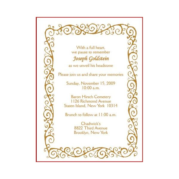 Invitation Cards for a Tombstone Unveiling Worthy Samples to Buy – Ceremony Invitation Template