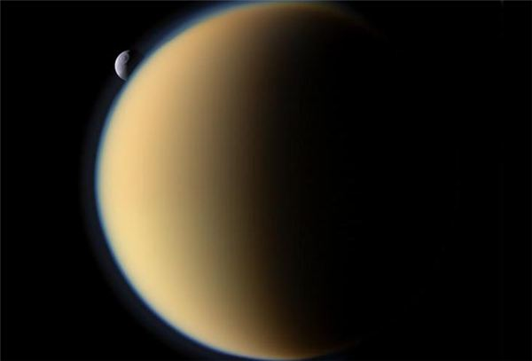 Saturn's Titan with Tethys