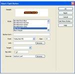 Using Flash Buttons in Dreamweaver - properties box