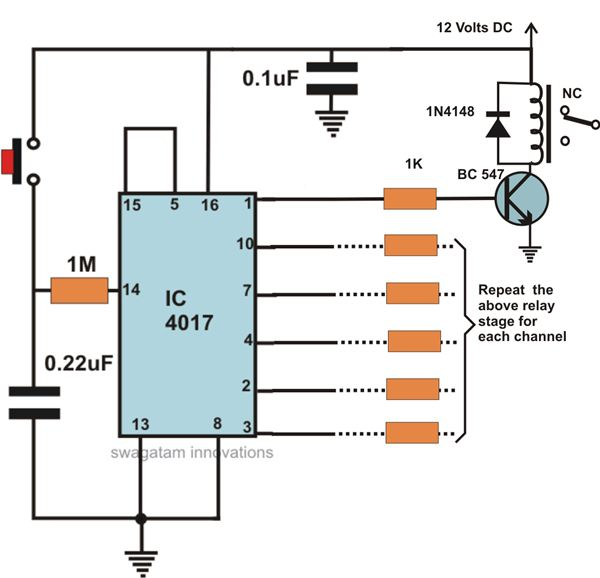 Manually Operated Sequential Relay Circuit