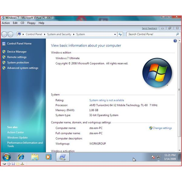 virtual pc windows 7