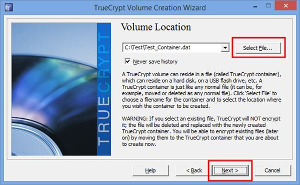 "4.  Select ""Standard TrueCrypt Volume"