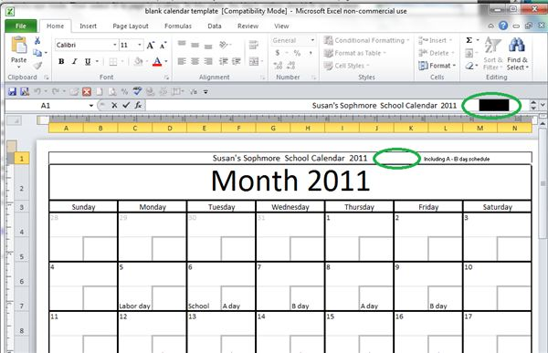 Getting the Spacing for the Calendar Name Right