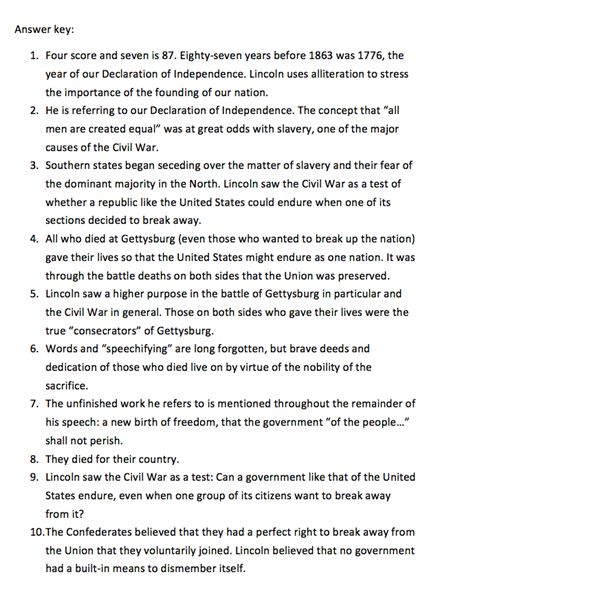 lesson plan for a middle school history class on the american  handout page 1 handout answer key