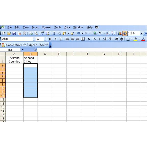 how to create drop down list in excel 2003