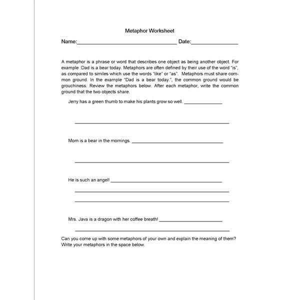 English Grammar Lesson Plan about Metaphors – Metaphor Simile Worksheet