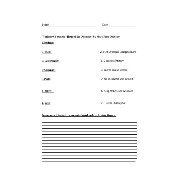 Contents contributed and discussions participated by Katrina Brown – Greek Gods Worksheet