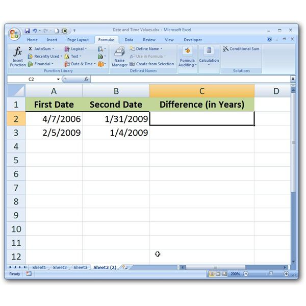 Excel calculate days between two dates