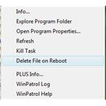 Delete File on Reboot Option in WinPatrol