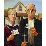 Real ID Act spoof, original painting by Grant Wood