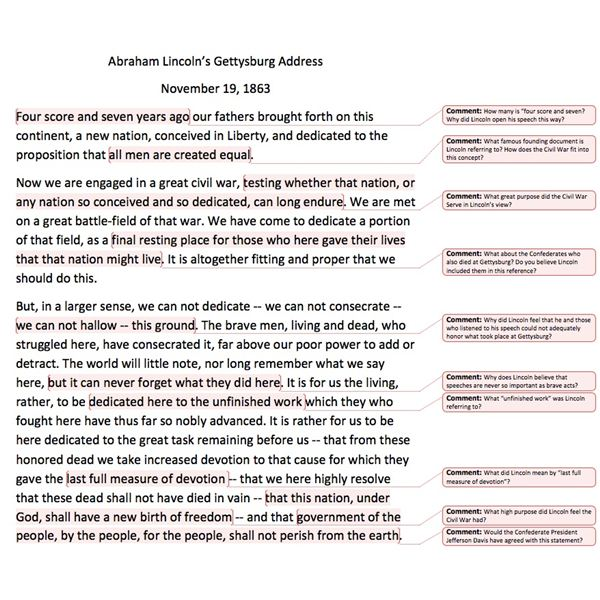 Lesson Plan for a Middle School History Class on the American – Gettysburg Address Worksheet