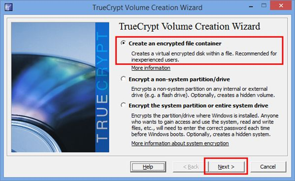"2.  Open TrueCrypt and click ""Create Volume."