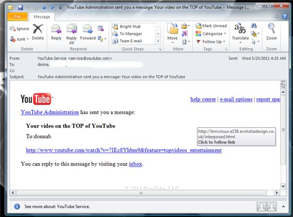 A Fraudulent YouTube E-mail