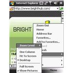Menu for IE Mobile