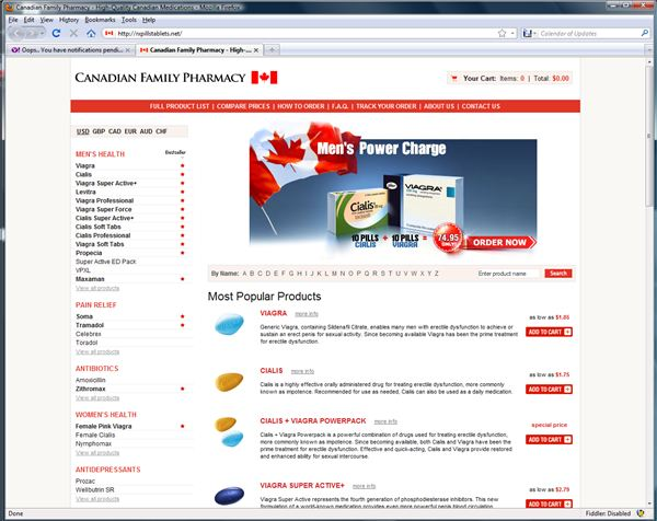 Fraudulent Canadian Pharmacy Webpage