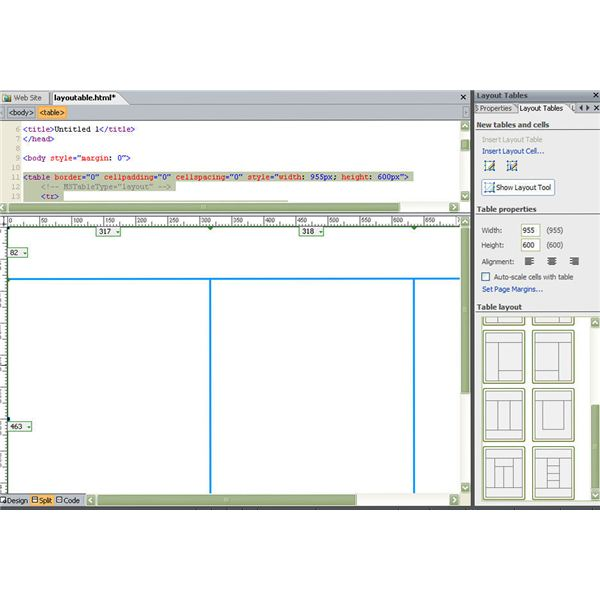 How to design a web page using a layout table in microsoft for Web page table design
