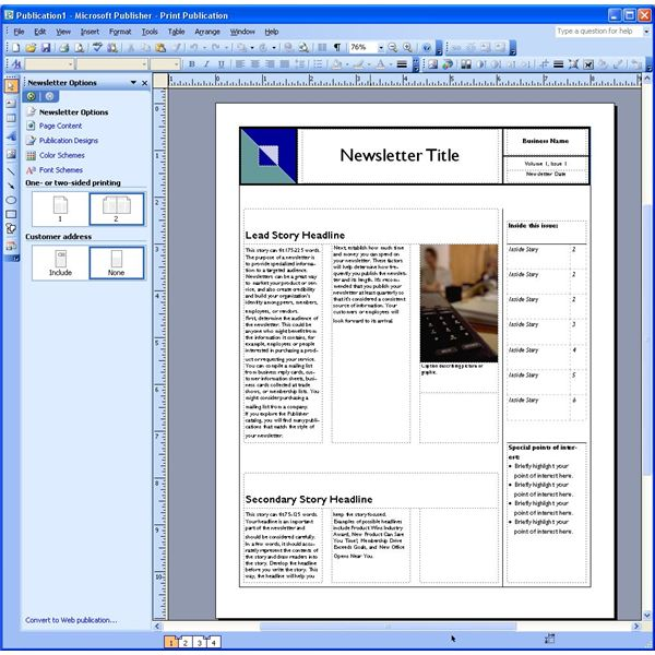 microsoft publisher newsletter templates