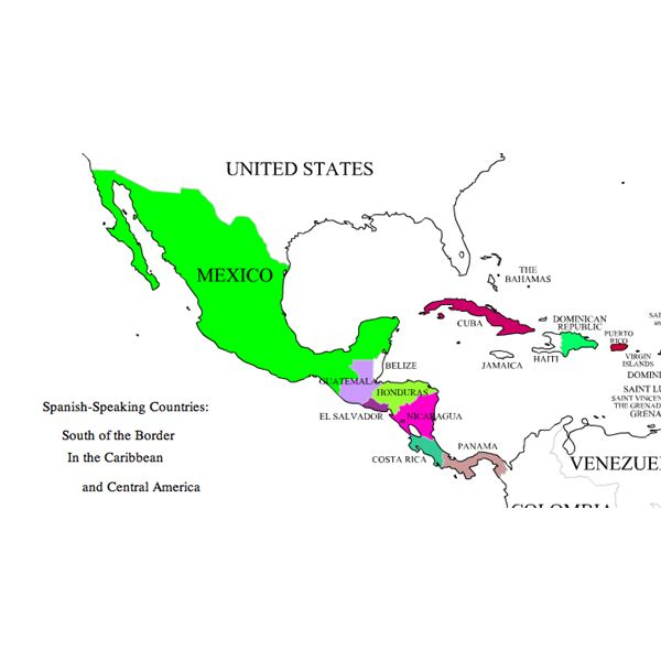 Names Of Nationalties In Spanish A Lesson Covering Central And: Map Of Central America In Spanish At Usa Maps