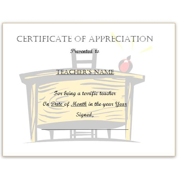 Teacheru0027s Desk Certificate For Word  Certificate Of Appreciation Words