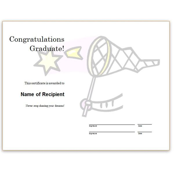 Chasing Dreams  Congratulations Award Template