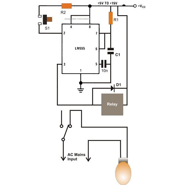 best of timer application circuits explained simple ic 555 automatic bedroom night lamp circuit diagram image