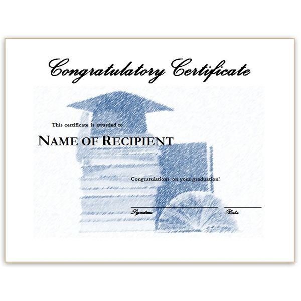 Congratulatory Graduation Certificates: Free Downloads For Ms Word