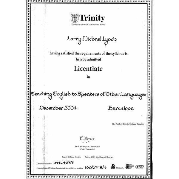 trinity certificate in tesol essay Elt teacher training - trinity tesol certificate if you are an english native speaker or you have a c1 level of english, the following information could.