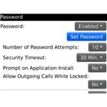 Blackberry Password settings
