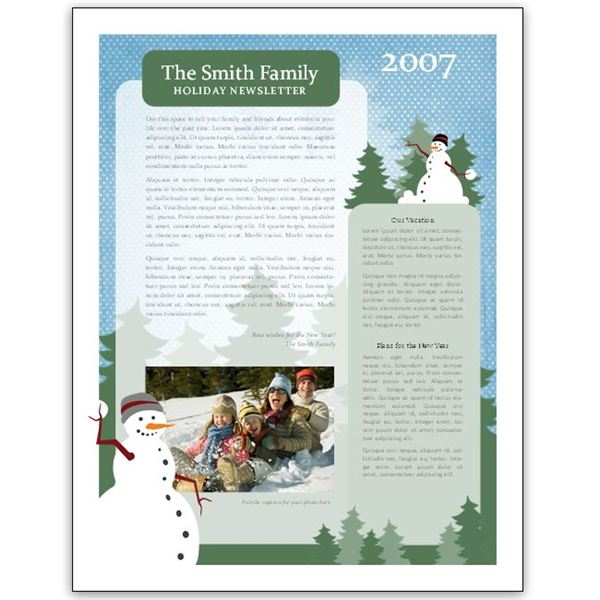 Family Newsletter Template. Yellow Diamond Pattern Family