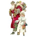 A vintage Santa Claus and girl provided by ChristmasGifts.com