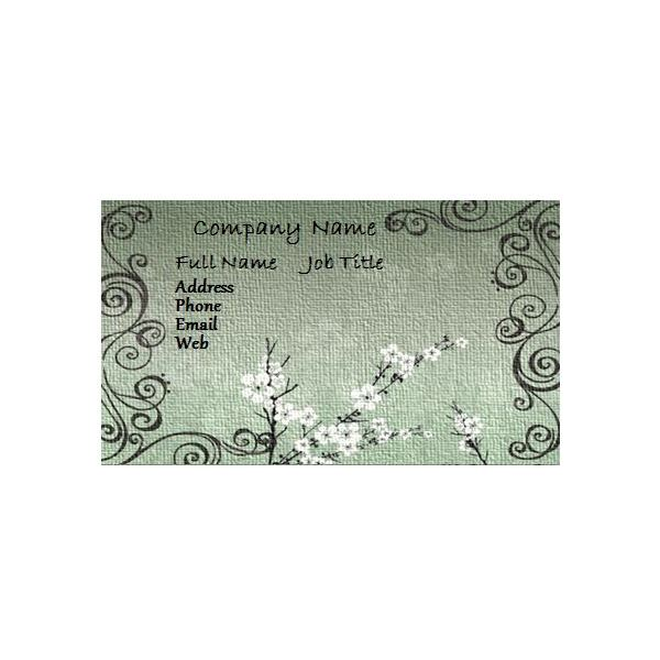 Green Floral Business Card  Free Card Templates For Word