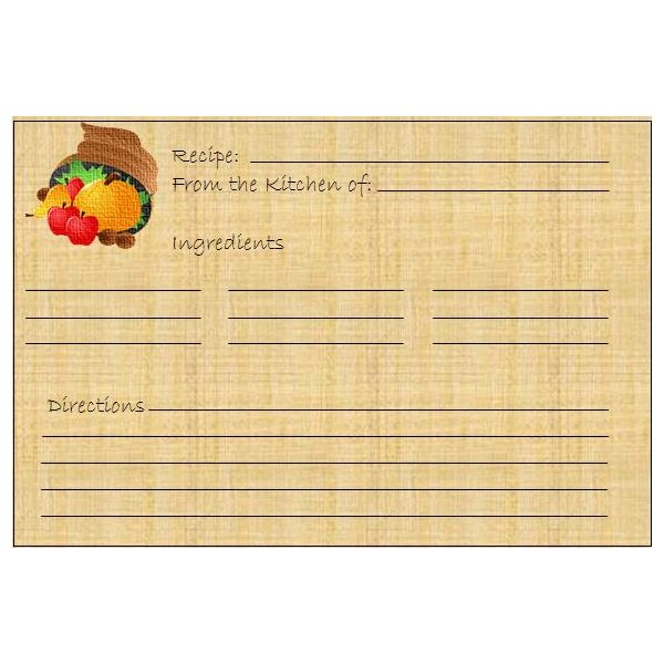 5 Thanksgiving or HarvestThemed Printables Greeting Card Banner – Microsoft Office Recipe Card Template