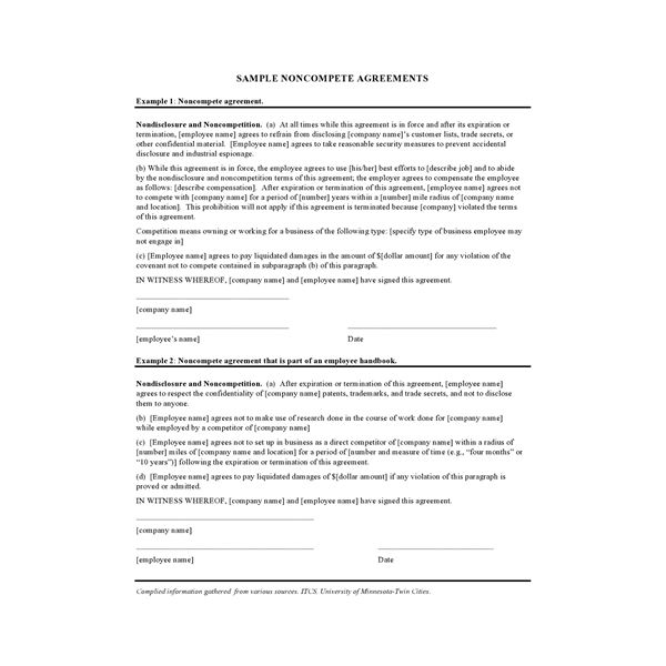 Find Great Free NonCompete Contract Samples for Small Businesses – Sample Non Compete Agreement Template