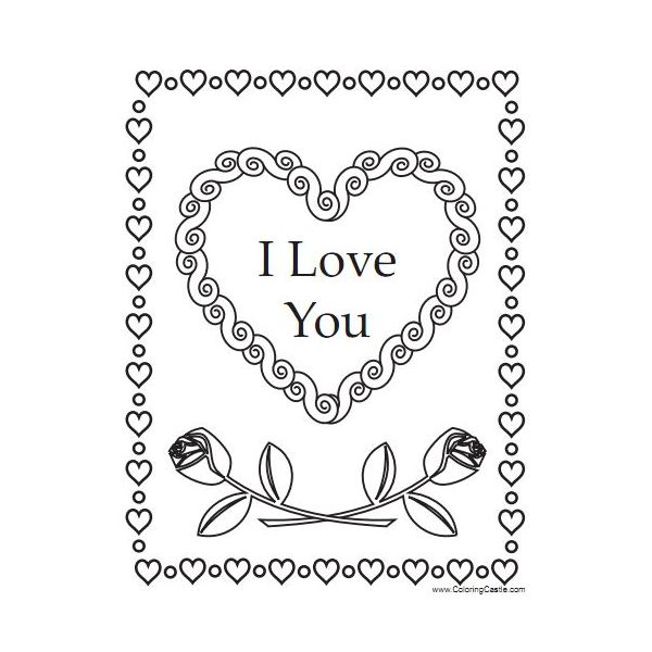 Valentines Day Coloring Iloveyou Heart Roses The Next Sheet
