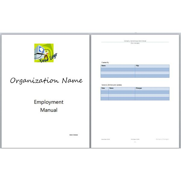 Manual Cover Page Template - Employee handbook template california free