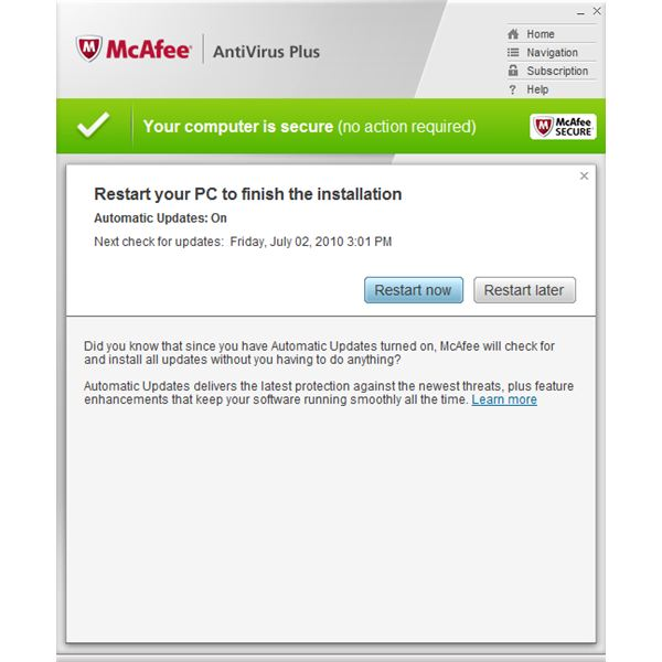 mcafee agent updater restart required
