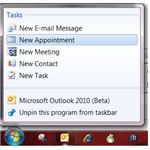 Office 2010 Jump Lists: Outlook options