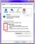 Fig 3 - Problems with Internet Explorer 9 - Security Slider