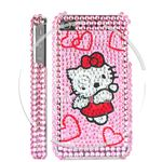 Hello Kitty & Hearts Diamond Rhinestone Bling Hard Case for iPhone 4 (Pink)500-6-s