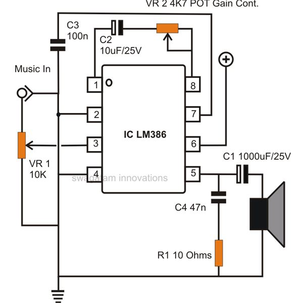 how to build small simple audio amplifiers using ic lm386 simple small audio amplifier circuit diagram using ic lm386