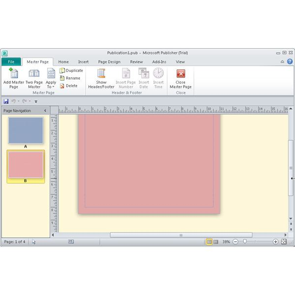 how to make a master page in publisher 2010