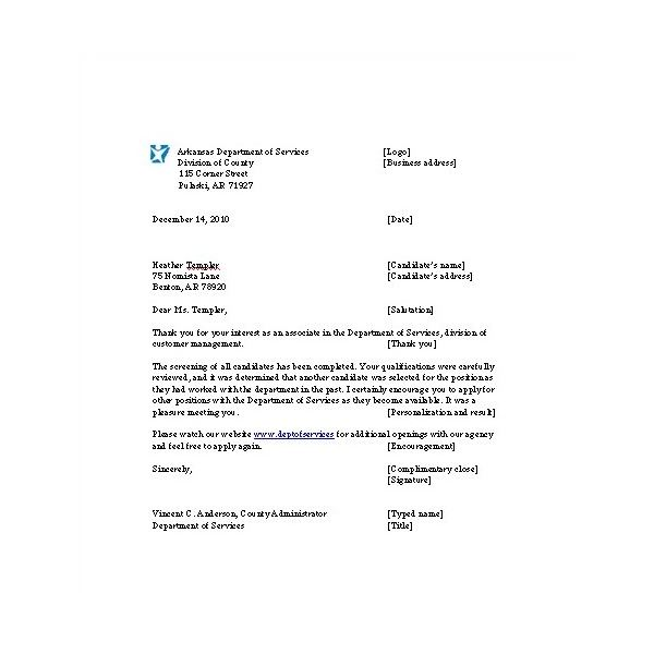 Letter for Rejecting Job Applicants Notes and Example to Download – Sample Applicant Rejection Letter