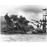 USS Arizona sinking after the attack on Pearl Harbor