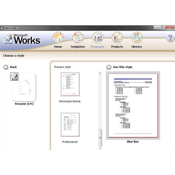 resume templates microsoft works processor personal