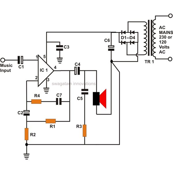 lm386 audio amplifier schematic diagram